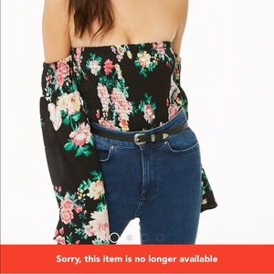 Forever 21 Floral Off The Top Shoulder Crop Top